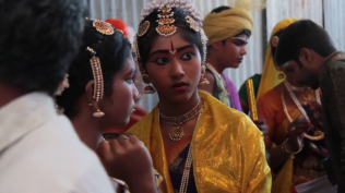 Dancers getting all decked up for the chidambaram Natyanjali festival